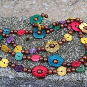 Wooden Flower Bead Tribal Long Wrap Necklace